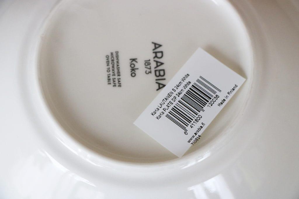 アラビア ココのディーププレートはフィンランド製です